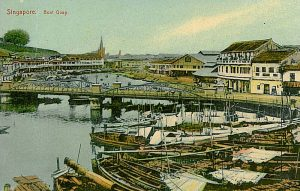 A historical postcard showing North Boat Quay, otherwise known as Clarke Quay in Singapore